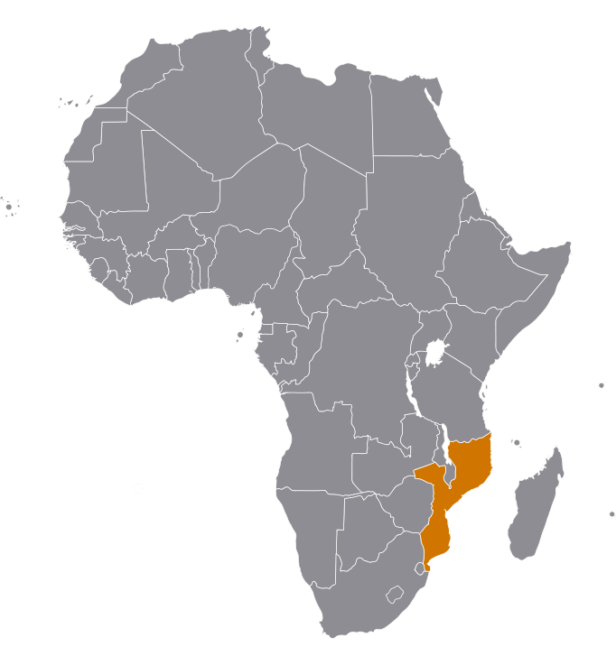 Landkaart Mozambique