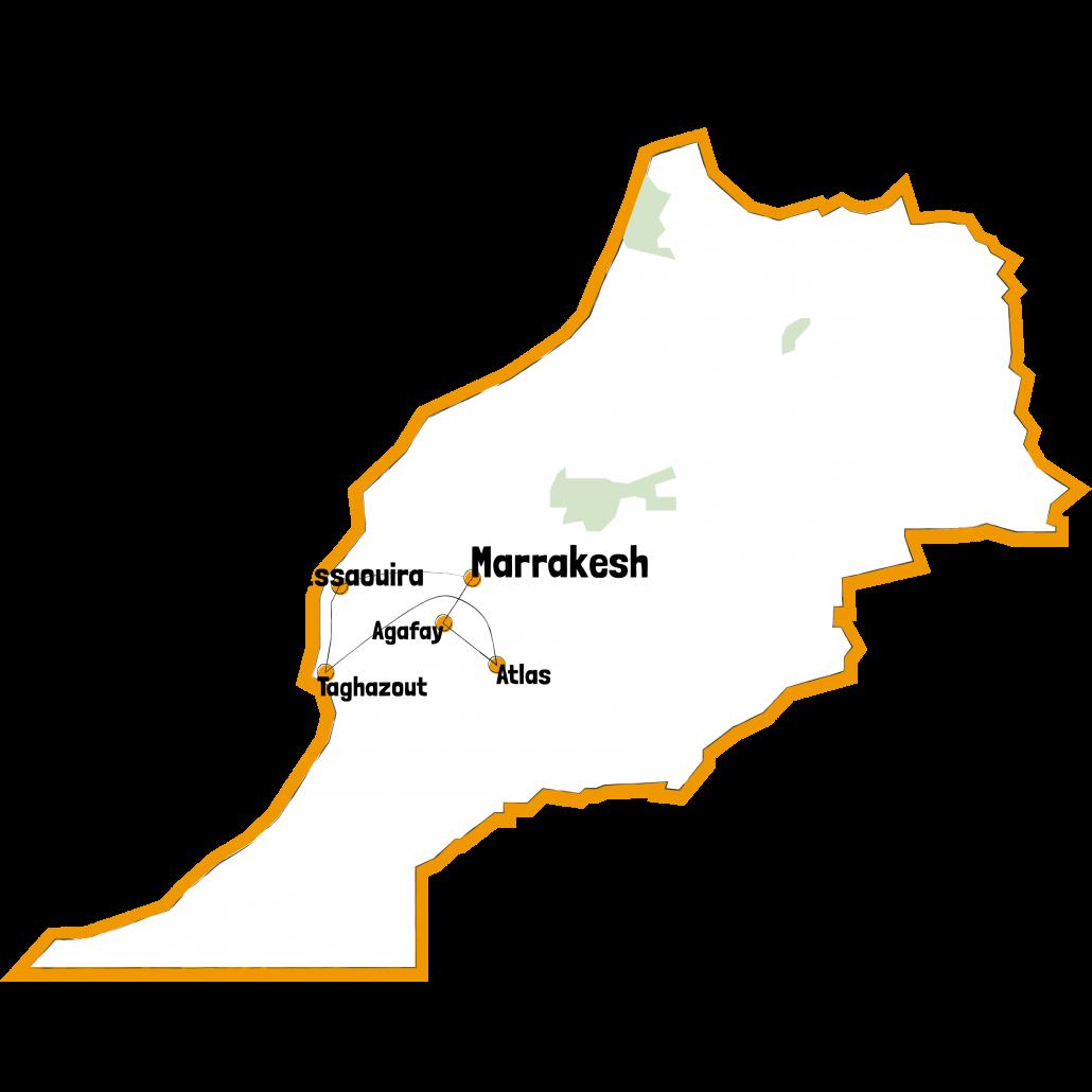 Kaart Route lustrum Marokko