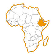 Afrika kaart met Ethiopië ingekleurd