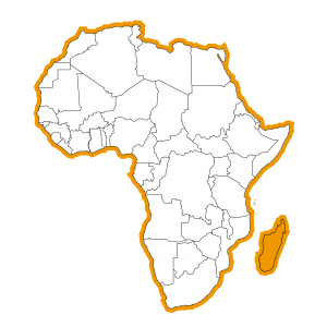 Afrika kaart met Madagascar ingekleurd