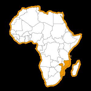 Afrika kaart met Mozambique ingekleurd
