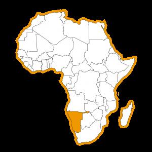 Afrika kaart met Namibië ingekleurd