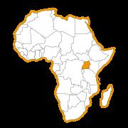 Afrika kaart met Oeganda ingekleurd