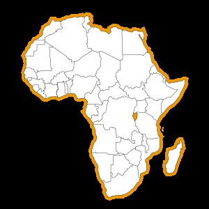 Afrika kaart met Rwanda ingekleurd