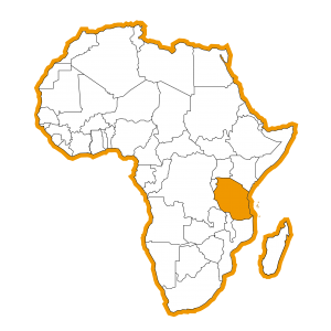 Kaart Afrika met Tanzania ingekleurd