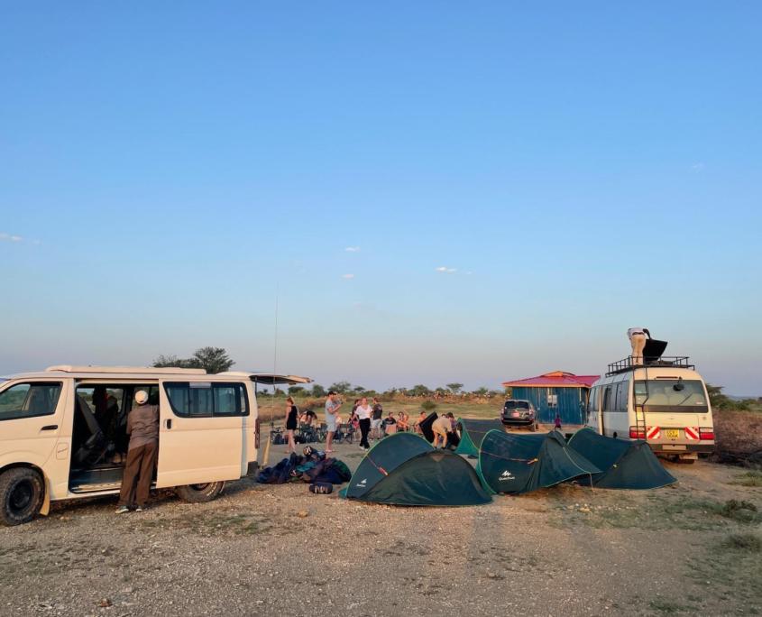 Jongeren kamperen met tentjes en 2 witte busjes